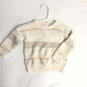 Gap white textured striped knit sweater 12-18m